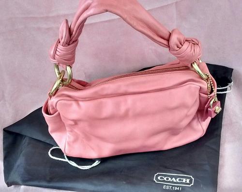 cartera coach original cuero rosa coral escucho ofertas