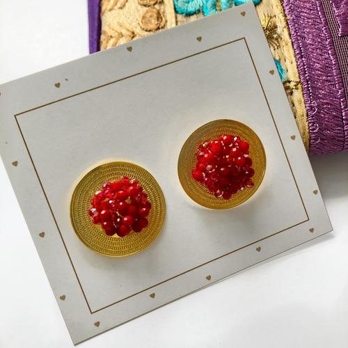 cartera con aretes y manillas tipo hindú hecho a mano