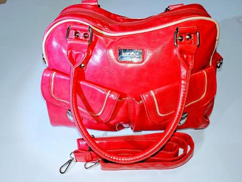 cartera cuero ecológico marca lexopia color fucsia/rosa