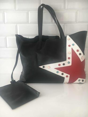 cartera  cuero negro tote bag kosiuko estrella y apliques