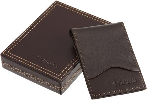 cartera de bolsillo frontal de cuero columbia para hombres,