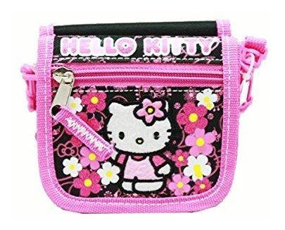 cartera de cuerda - hello kitty - flores negras