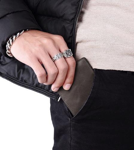 cartera de cuero delgada de los hombres cartera de bolsillo