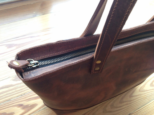 cartera  de cuero natural estilo vintage (modelo venecia)