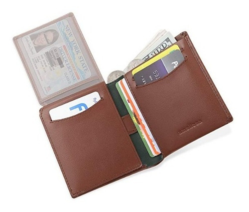 cartera de cuero real trifold para 10 tarjetas.