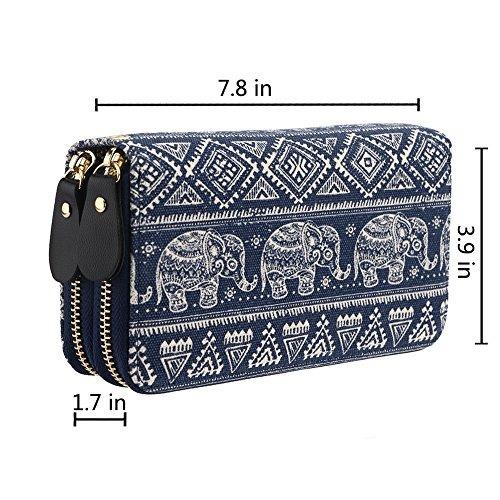 cartera de lona c/correa y estampado bohemio de elefantes