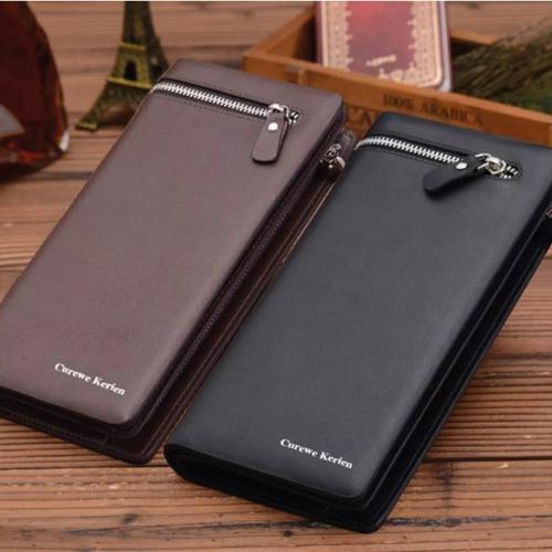 cartera de lujo para caballero con tarjetero y porta celular