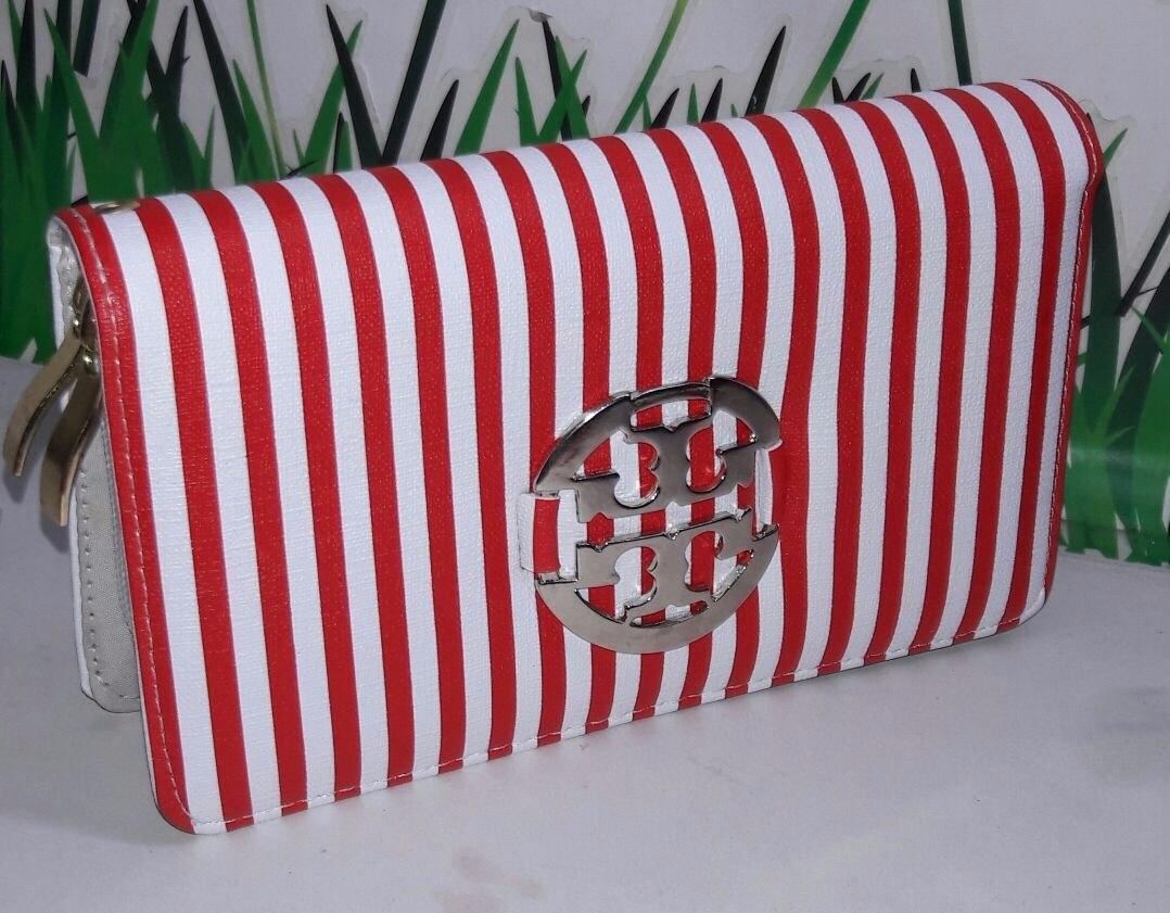Mano Billetera Blanco Cartera Cargando Zoom Moda De Para Rayas Mujer Roja U7qwqa