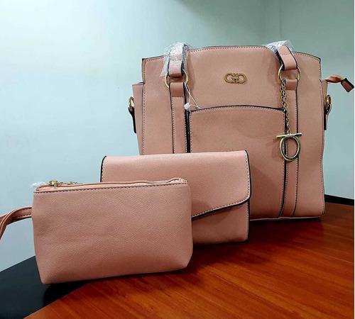 cartera de mujer elegante varios modelos versatil 3 pzs 013