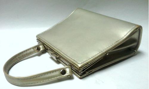 cartera de noche antigua cuadrada cuero plateado