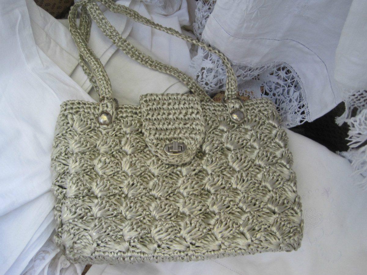 Cartera De Rafia Gris, Tejida Al Crochet Antigua - $ 250,00 en ...