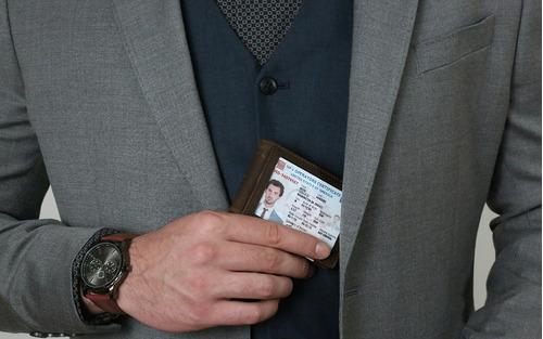 cartera de viaje rfid blocaje bifold delgado cuero genuino t