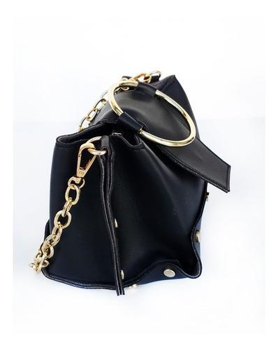 cartera eco cuero lisa con cadena y manija de metal k1327
