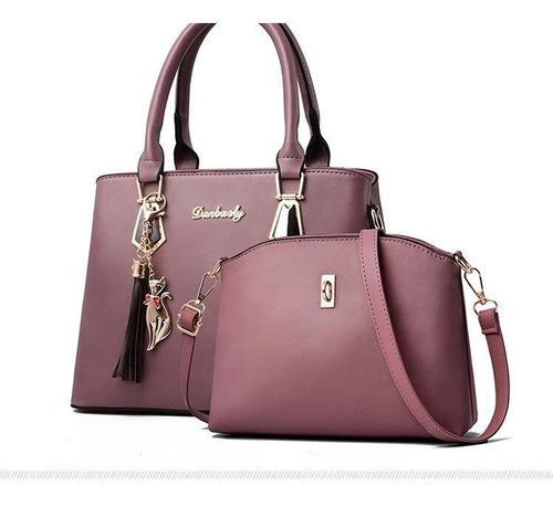 cartera elegante de mujer  2 piezas importadas lila rosa
