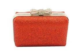 4a5b6564a Cartera Fiesta Escarcha Roja Lazo Dama Mujer Exclusivo Brill
