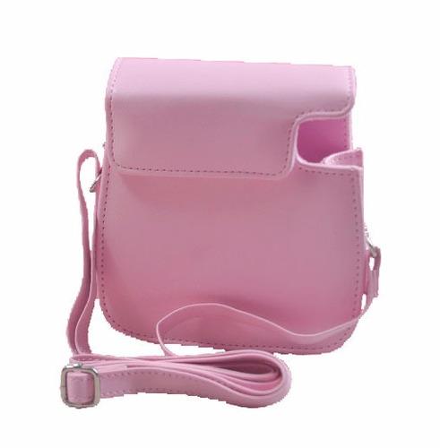 cartera funda rosa p/instax mini 8 9 espejo selfie
