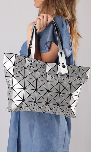 cartera geometrica brillante ultra light importada negro