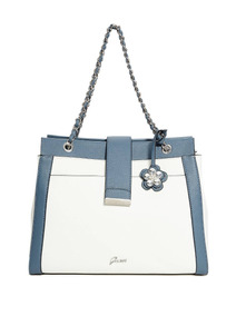 Satchel Azulblanco Mujer Block Cartera Color Guess Bria fIYyvm6b7g