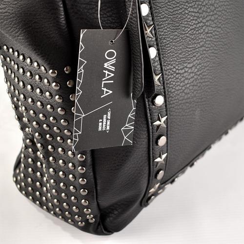 cartera importada cuero sintetico negra tachas grande