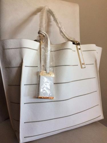 cartera importada galian blanca y dorada + bolso de mano