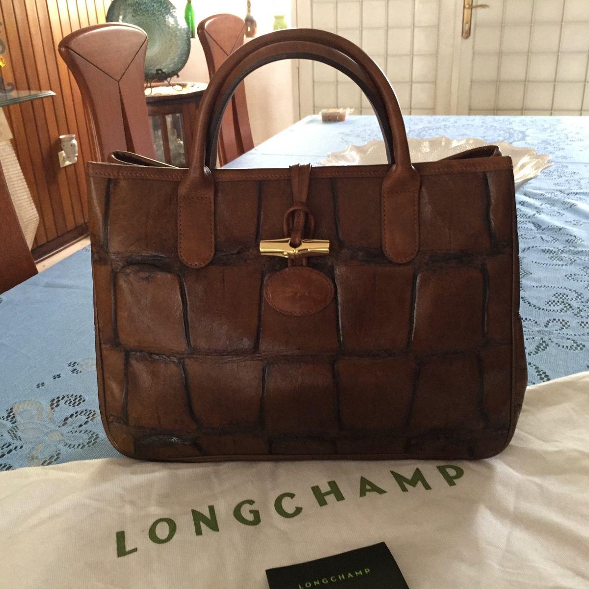 comprar online d079c 823ae Cartera Longchamp Original Piel Cocodrilo 34 Cm