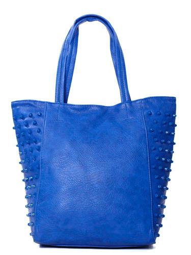 cartera madison tachas laterales  al hombro azul mujer