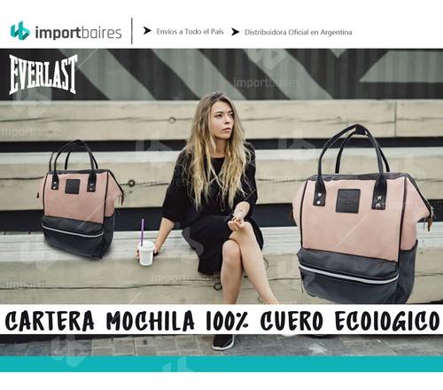 cartera mochila everlast 100% cuero ecologico pu boca de pez