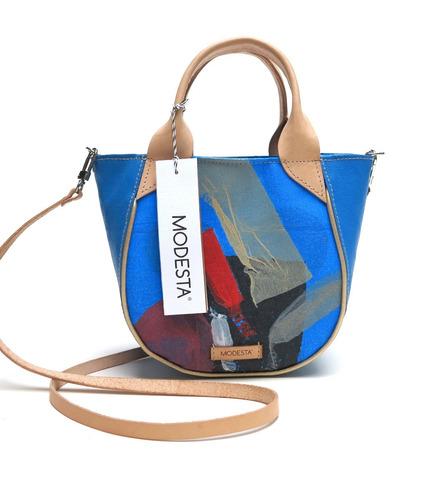 cartera modesta® mini bag arte única eco-friendly - azul