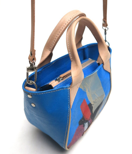 cartera modesta® mini bag arte única reciclada - azul