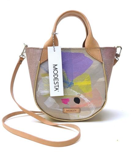 cartera modesta® mini bag arte única reciclada - rosa n