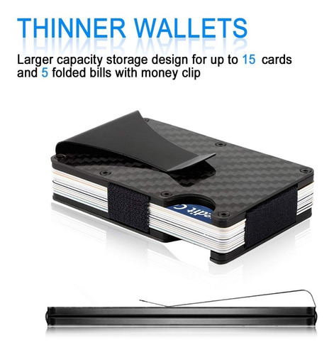 cartera money clip billetera rfid auténtica fibra de carbono