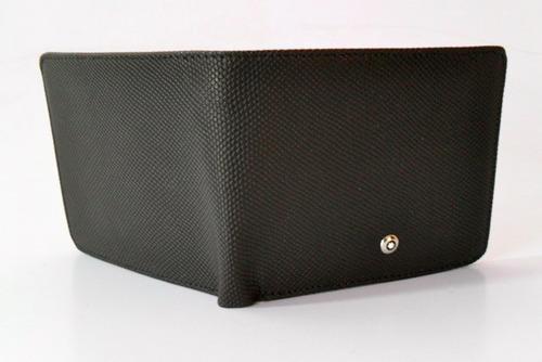 cartera mont blanc con porta credencial y tarjetero en caja