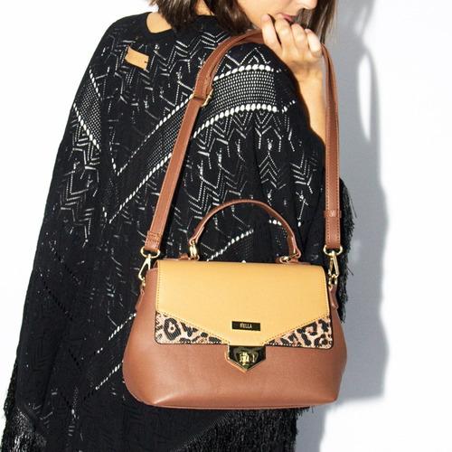 cartera mujer marrón con solapa correa desmontable
