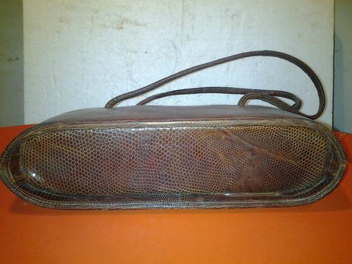 cartera muy antigua de cuero de vivora, impecable,25 x 15 cm