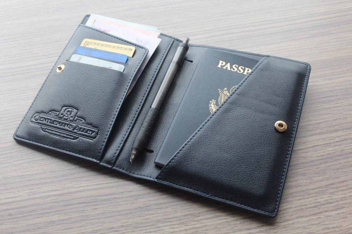 4423c00f5 cartera porta pasaporte piel navy cuero boligrafos regalo. Cargando zoom.