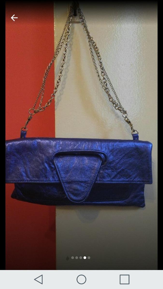 ae868683f Cartera Sobre Azul Cuero Legítimo - $ 400,00 en Mercado Libre