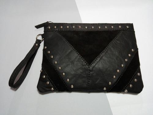 cartera sobre - cuero y gamuza - chaco color negro