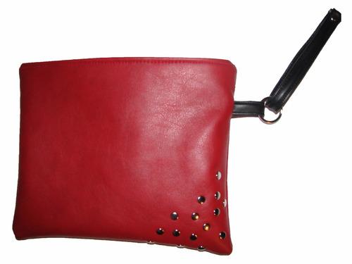 cartera sobre de mano dama eco cuero rojo