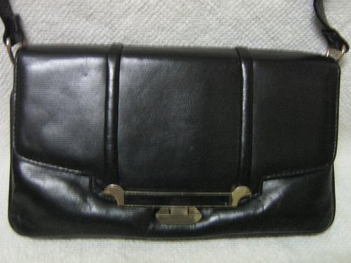 cartera sobre negra cuero vacuno 28cm x 19cm vintage 3 div,