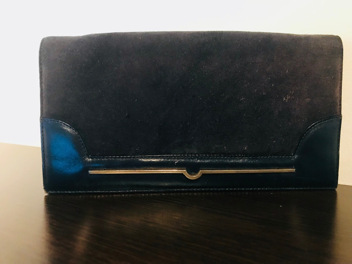 b98bebda8 Cartera Sobre Vintage Azul - Gamuza & Cuero - $ 180,00 en Mercado Libre