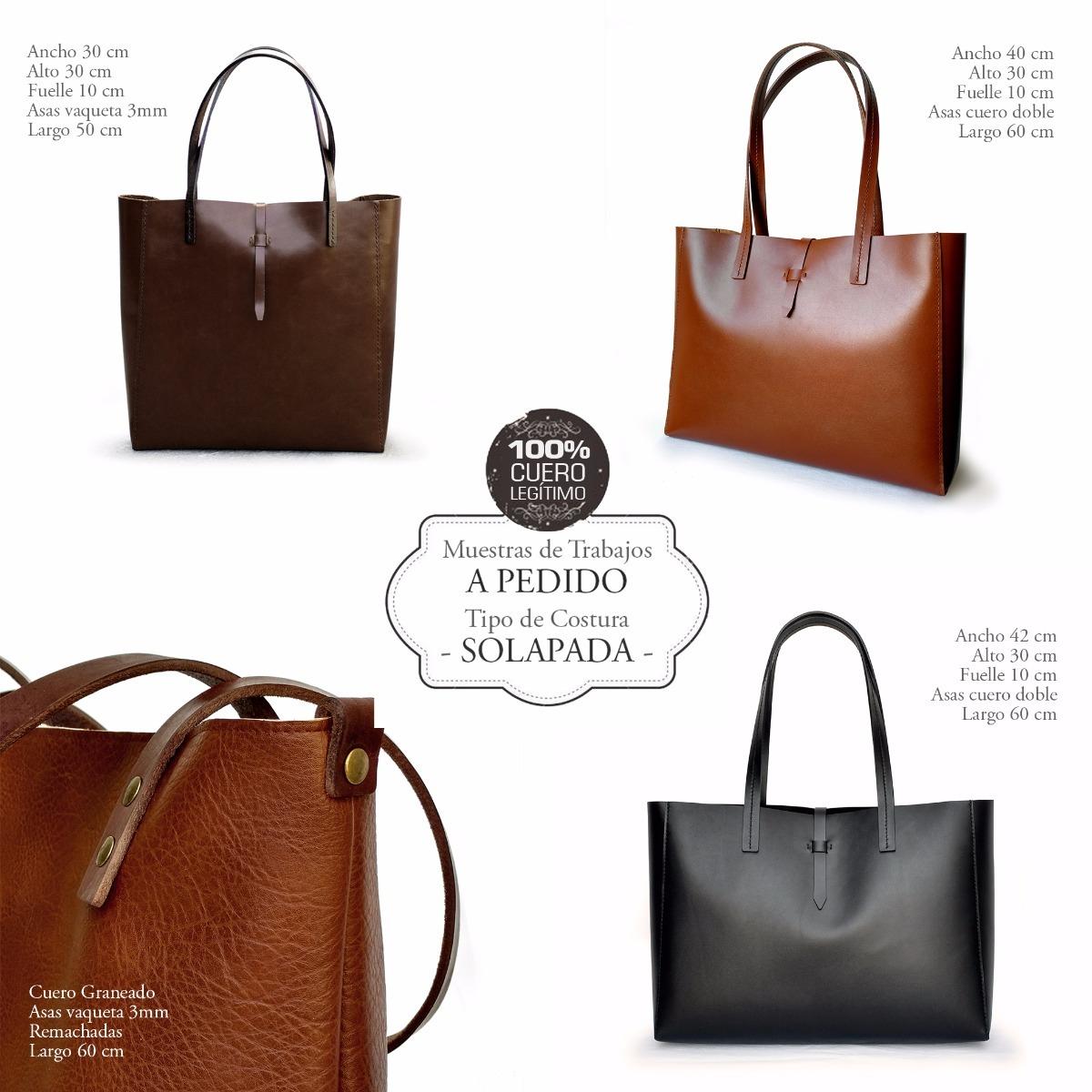 Cartera Tote Bag Shopper -100% Cuero Vacuno- Hecha A Mano