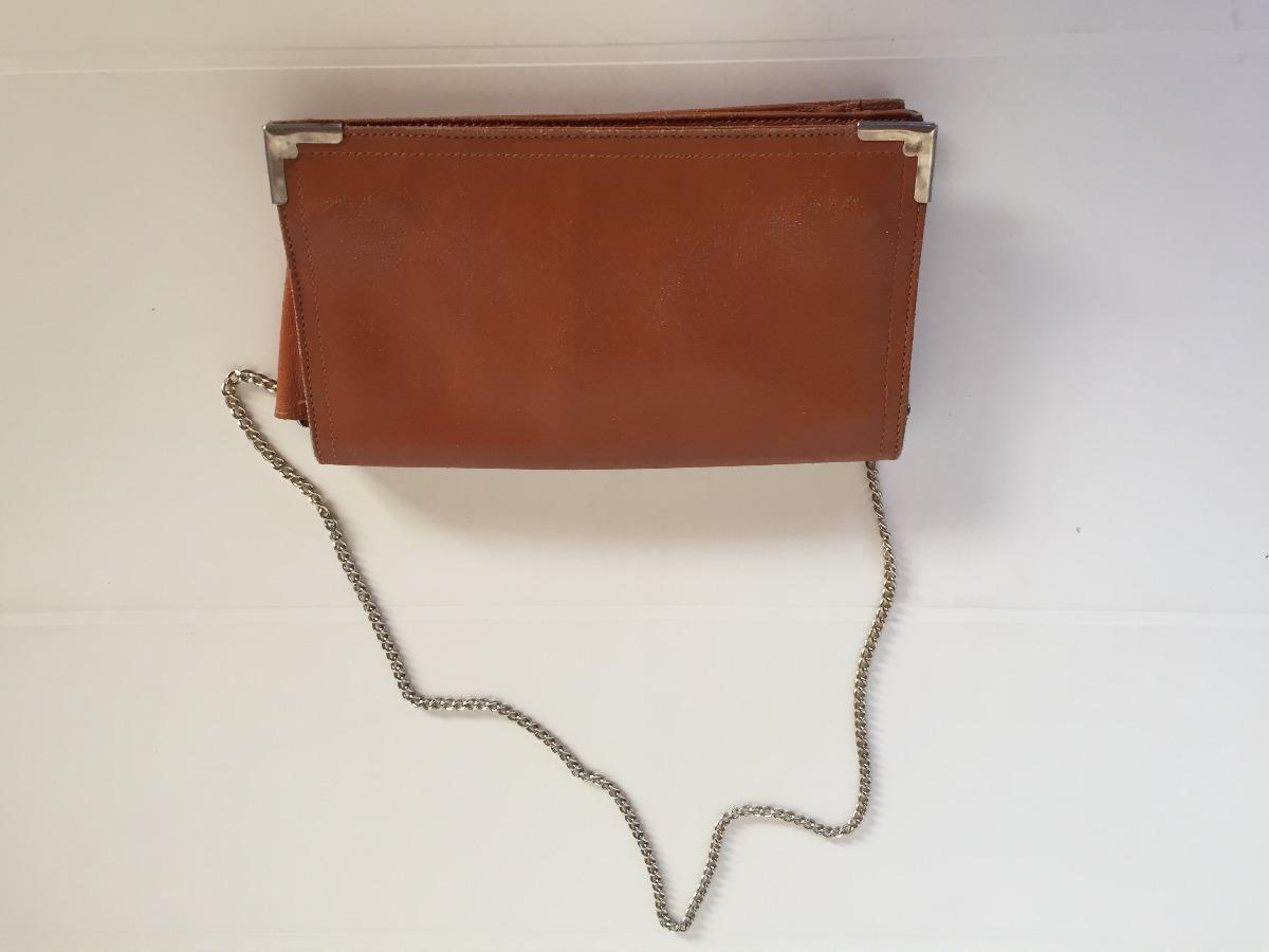 3586fad83 Cartera Vintage De Cuero Marron Con Cadenita - $ 220,00 en Mercado Libre