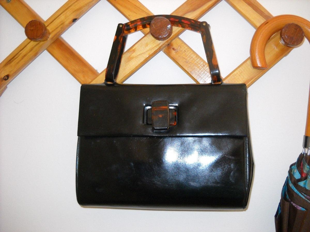 8a406d5c6 cartera vintage negra de charol manija carey int cuero cabra. Cargando zoom.