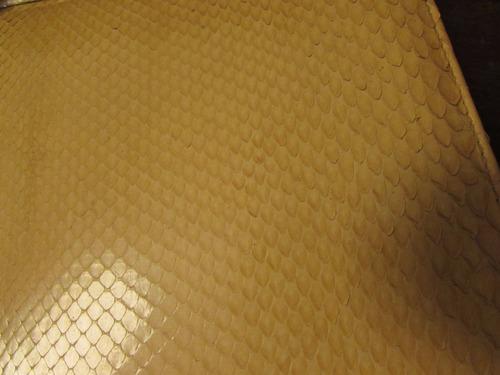 cartera y clutch - 100% cuero original - pitón amarillo