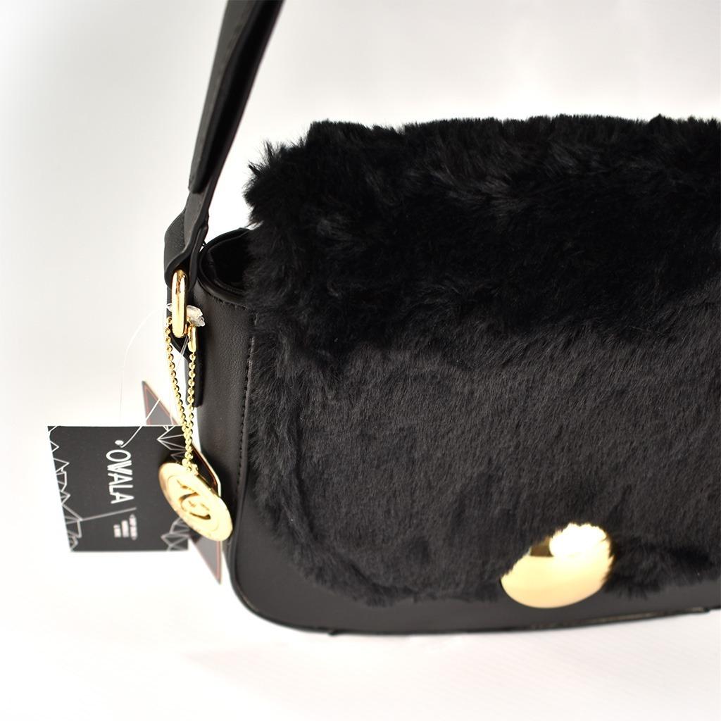 ab1e8c62a71 carteras bandoleras mujer cuero sintético negras pelo piel. Cargando zoom.