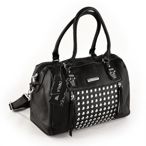 carteras bolsos negras tachas simil cuero trendy originales