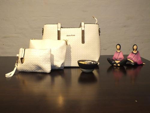 carteras de mujer 3 piezas varios colores, por menor y mayor