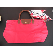 Cartera Longchamp Roja Grande Con Su Pañuelo Nueva