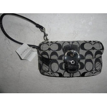 Cartera Coach Negra 100% Original Tipo Clutch