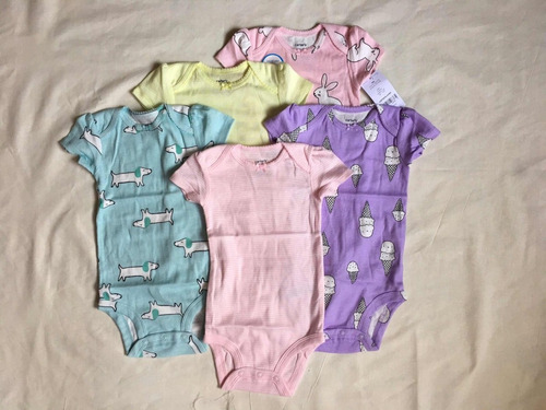 carters set de 5 bodies niña 9 y 12 meses